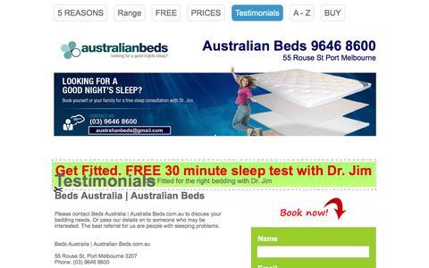 Screenshot of Testimonials Page australiansleeptherapy.com.au - Contact : Australian Beds | Beds Australia | Wholesale (03) 9646 8600 - captured May 31, 2017