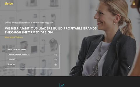 Screenshot of Home Page thrivethinking.com - Thrive - A Product Development and Innovation Strategy Firm - captured Feb. 12, 2016