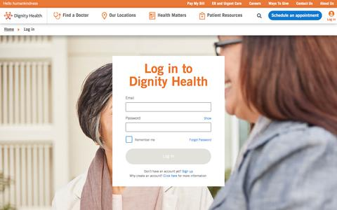 Screenshot of Login Page dignityhealth.org - Dignity Health | login - captured Nov. 8, 2019