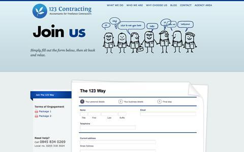 Screenshot of Signup Page 123contracting.co.uk - Freelancer Accountants, Contractors, IR35,  IT Contractors & VAT Registration - captured Oct. 7, 2014