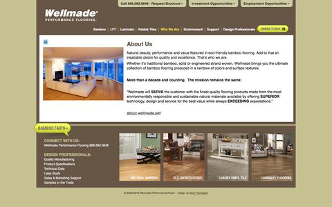 Screenshot of About Page wellmadefloors.com - About Wellmade Bamboo - captured Feb. 18, 2016