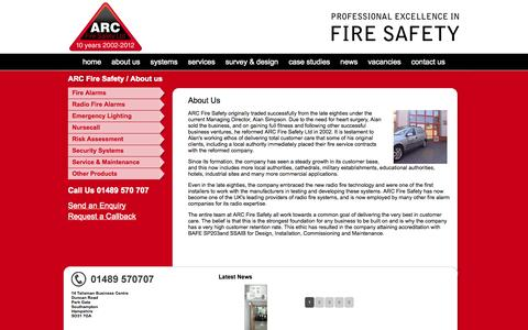 Screenshot of About Page arcfiresafety.co.uk - About ARC Fire Safety - captured Oct. 4, 2014