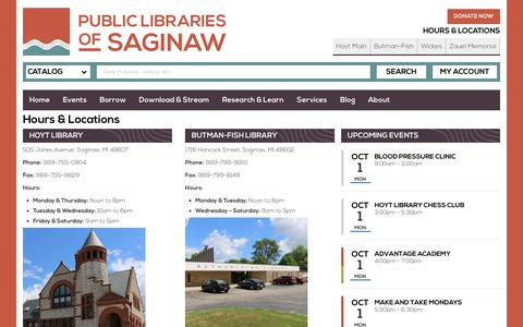 Screenshot of Locations Page saginawlibrary.org - Hours & Locations | Public Libraries of Saginaw - captured Sept. 30, 2018