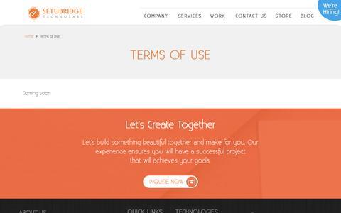 Screenshot of Terms Page setubridge.com - Terms of Use | SetuBridge Technolabs - captured June 27, 2017