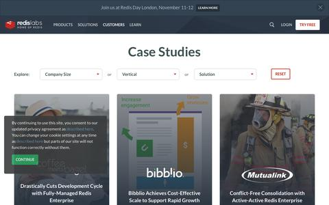 Screenshot of Case Studies Page redislabs.com - Case Studies | Redis Labs - captured Oct. 9, 2019