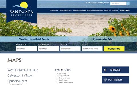 Screenshot of Maps & Directions Page sandnsea.com - Maps - Directions and How to Get around in the Galveston area of Texas - Sand 'N Sea Properties - captured Oct. 4, 2017