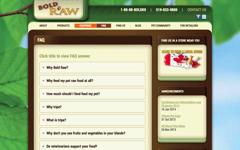 Screenshot of FAQ Page boldraw.com - FAQ - Bold Raw - captured Oct. 5, 2014