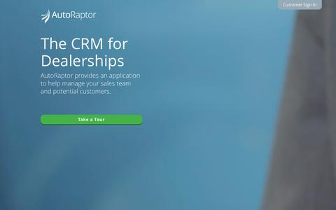 Screenshot of Home Page autoraptor.com - AutoRaptor | Automotive CRM and Lead Management ILM - captured Dec. 27, 2015