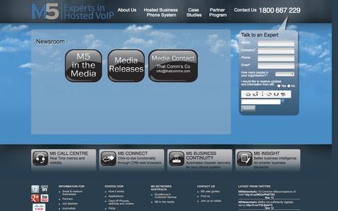 Screenshot of Press Page m5networks.com.au - Newsroom - M5 Networks Australia - captured Oct. 3, 2014