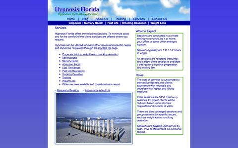 Screenshot of Services Page hypnofl.com - Hypnosis Florida - Services - captured Oct. 6, 2014