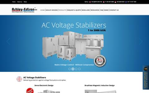 Screenshot of Home Page ashleyedison.com - Voltage Stabilizers & Power Line Conditioners from Ashley-Edison - captured Jan. 23, 2015