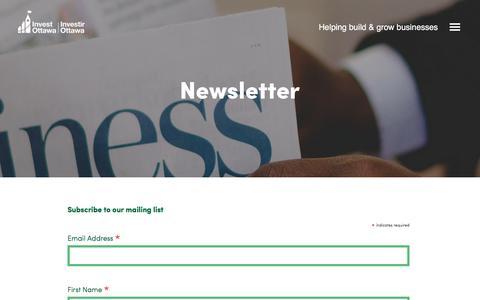 Screenshot of Signup Page investottawa.ca - Newsletter - Invest Ottawa - captured June 8, 2017