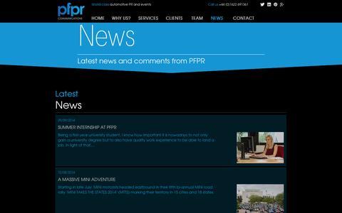 Screenshot of Press Page pfpr.com - PFPR - automotive PR and events - captured Oct. 1, 2014