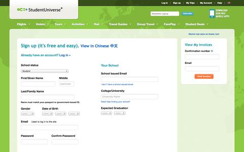 """Screenshot of Signup Page studentuniverse.com - Sign up (it's free and easy). <a href=""""#"""" id=""""locale_zh_CN"""" onclick=""""changeLocale('zh_CN'); return false""""><span title=""""View in Chinese"""" class=""""finePrint"""">View in Chinese 中文 </span><input type=""""hidden"""" id=""""locale"""" value=""""zh_CN""""/></a> - captured Oct. 10, 2014"""