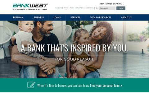 Screenshot of Home Page bankwestmn.com - BANKWEST   Buffalo, MN - Rockford, MN - Hanover, MN - captured Sept. 23, 2018