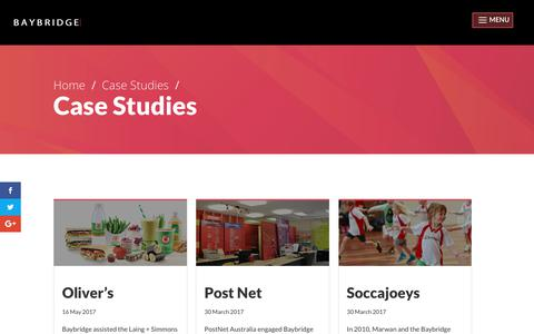 Screenshot of Case Studies Page baybridge.com.au - Case Studies | Baybridge - captured June 1, 2017