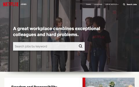 Screenshot of Jobs Page netflix.com - Netflix Jobs - captured Oct. 31, 2019