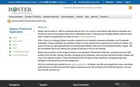 Screenshot of About Page bosterbio.com - Monoclonal Antibodies, Polyclonal Antibodies, ELISA Kits | About - captured Nov. 3, 2014