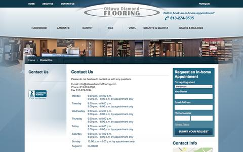 Screenshot of Contact Page Hours Page ottawadiamondflooring.com - Contact Us | Ottawa Diamond Flooring - captured Oct. 25, 2014