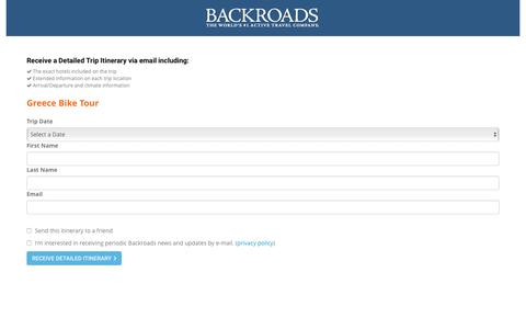 Screenshot of Landing Page backroads.com - MyBackroads - Detailed Itinerary - captured Aug. 15, 2016