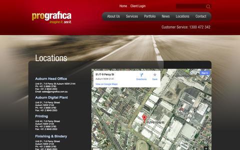 Screenshot of Locations Page prografica.com.au - Prografica > Locations - captured Sept. 30, 2014