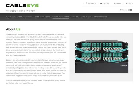 Screenshot of About Page cablesys.com - About Us - captured July 10, 2016