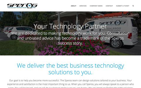 Screenshot of About Page speros.com - Technology Solutions for Your Business - Speros - captured Nov. 14, 2017
