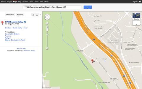 Screenshot of Maps & Directions Page rf2b.com - 11760+Sorrento+Valley+Road,+San+Diego,+CA - Google Maps - captured Oct. 26, 2014