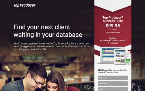 Screenshot of Landing Page topproducer.com - Top Producer® | Find your next client waiting in your database - captured May 23, 2016