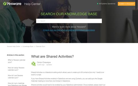 Screenshot of Support Page yesware.com - What are Shared Activities? – Yesware Help Center - captured July 12, 2019
