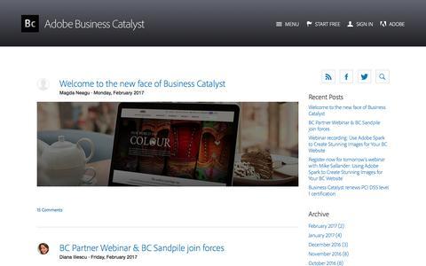 Screenshot of Blog businesscatalyst.com - Business Catalyst Blog - captured Feb. 8, 2017
