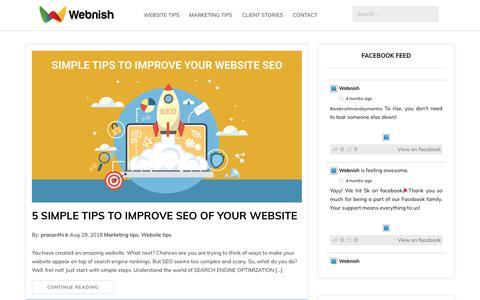 Screenshot of Blog webnish.com - Webnish blog - Make websites work for your business - captured Oct. 18, 2018