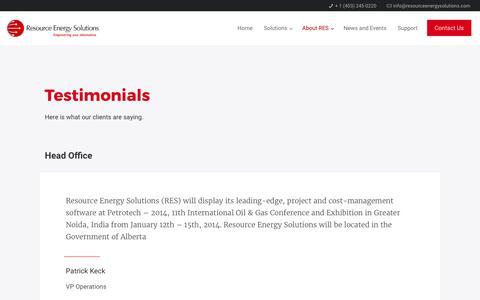 Screenshot of Testimonials Page resourceenergysolutions.com - Testimonials – Resource Energy Solutions - captured Oct. 22, 2017