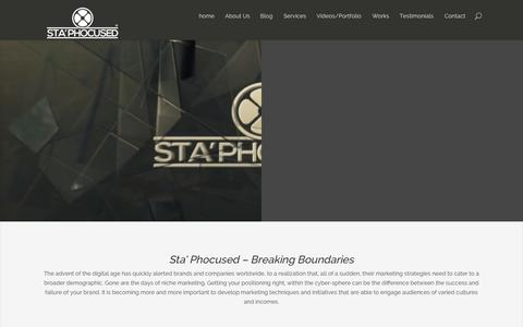 Screenshot of Home Page staphocused.com - StaPhocused Video production and online Media Marketing - captured Oct. 6, 2014