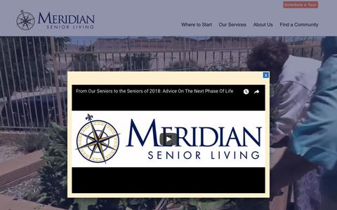 Screenshot of Home Page meridiansenior.com - Meridian Senior Living | Senior Living Community Near You - captured June 15, 2018