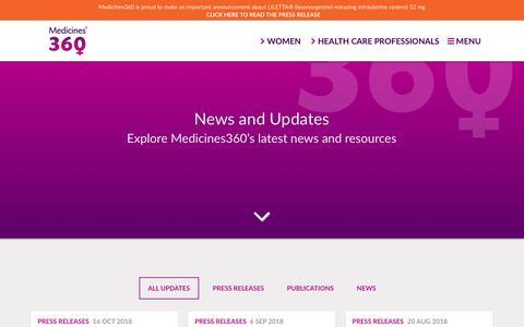 Screenshot of Press Page medicines360.org - News and Updates – Medicines360 - captured Nov. 6, 2018