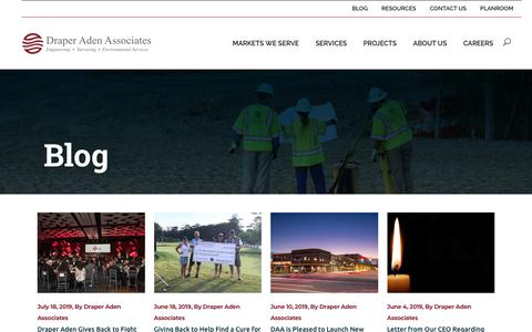 Screenshot of Blog daa.com - Blog | Civil Engineering, Surveying, & Environmental | Draper Aden, Virginia and North Carolina - captured Aug. 18, 2019