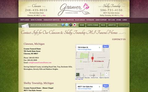 Screenshot of Contact Page Maps & Directions Page gramerfuneralhome.com - Troy MI Area Funeral Home & Mortuary, Shelby Township MI Funeral Services: Contact Info | Gramer Funeral Home, Shelby Township & Clawson MI - captured Oct. 22, 2014