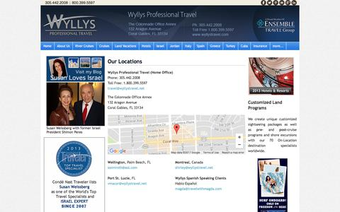 Screenshot of Locations Page wyllystravel.com - Locations - Wyllys Professional Travel - captured Oct. 22, 2017