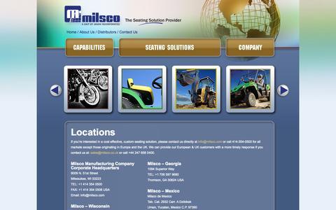 Screenshot of Locations Page milsco.com - Milsco - captured Oct. 27, 2014