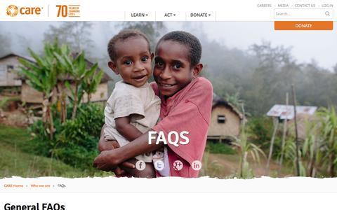 Screenshot of FAQ Page care.org.au - FAQs - CARE Australia - captured Aug. 30, 2016