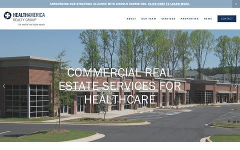 Screenshot of Home Page healthamrealty.com - HealthAmerica Realty Group - captured Sept. 27, 2018