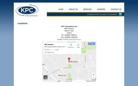 Screenshot of Locations Page kpc-international.com - Locations - captured June 9, 2017