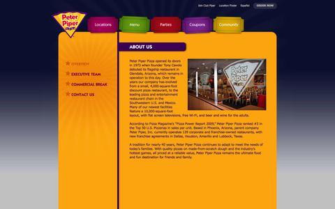 Screenshot of About Page peterpiperpizza.com - Peter Piper Pizza - Everyone Grab a Slice! - captured Sept. 22, 2014