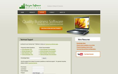 Screenshot of Support Page kzsoftware.com - Support for Vehicle Maintenance, Fixed Asset Management, Training Records Database, and Home inventory software. - captured Oct. 6, 2014