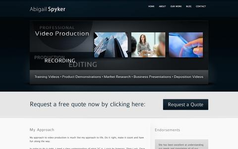 Screenshot of Home Page abigailspyker.com - Video Production Services by Abigail Spyker - Portland, OR - captured Jan. 28, 2015