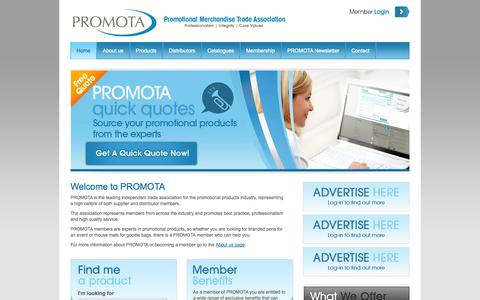 Screenshot of Home Page promota.co.uk - PROMOTA - Promotional Merchandise Trade Association - captured Jan. 27, 2015