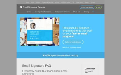 Screenshot of FAQ Page emailsignaturerescue.com - Email Signature FAQ - captured Oct. 28, 2014