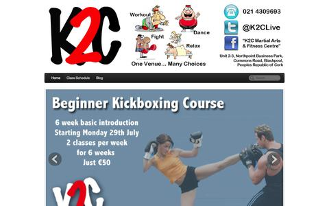 Screenshot of Home Page k2c.ie - K2C | Workout, Dance, Fight, Relax. One Venue - many choices! - captured Oct. 6, 2014