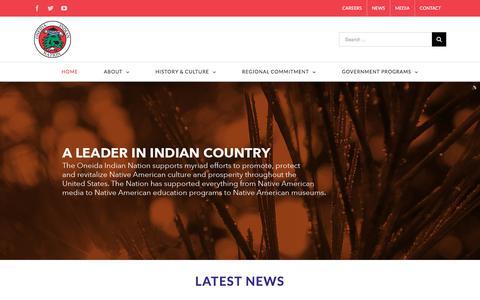 Screenshot of Home Page oneidaindiannation.com - Oneida Indian Nation - captured June 12, 2017